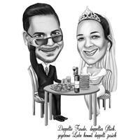 Paar-Dinner-Karikatur-Karikatur auf Schwarz-Weiß-Stil aus Fotos