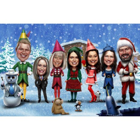 Christmas Group Caricature from Photos - Christmas Company Card - example