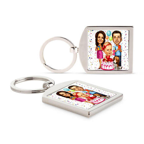 Birthday Family Caricature Printed on Keyrings - example