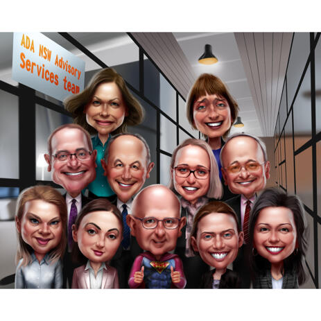 High Exaggerated Corporate Group Team Caricature with Company Office Background from Photos - example