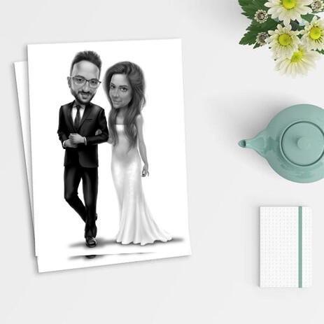 Newlyweds Caricature Drawing as Poster - example