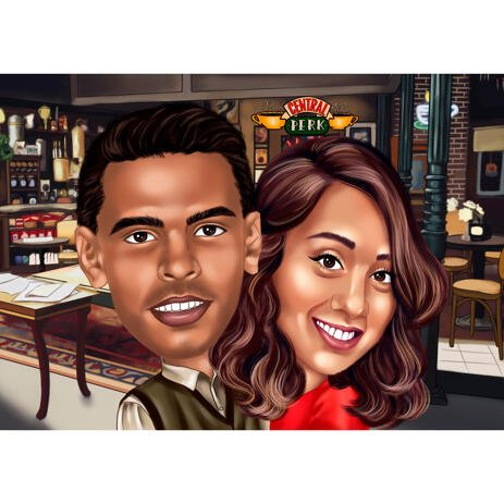 Couple in Bar Caricature from Photos in Color Style for Personalized Gift - example