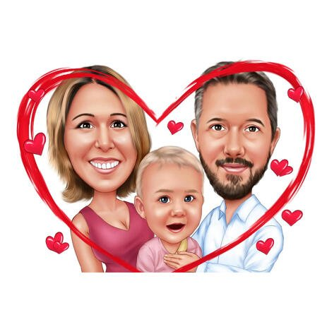 Couple with Baby Cartoon Caricature from Photos in Color Style - Best Custom Gift Idea - example