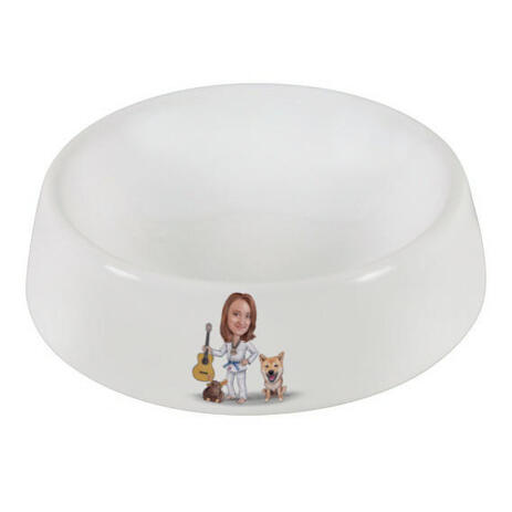 Master and Dog Caricature as Pet Bowl - example