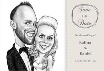 Pencils Portrait of Bride and Groom as Invitations Print