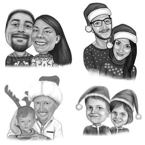 Christmas Couple Caricature in Black and White Style - example
