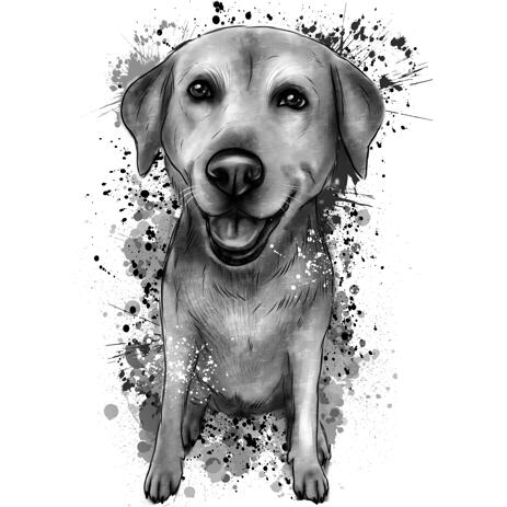 Full Body Labrador Portrait from Photos in Watercolor Shades of Gray Style - example