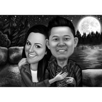 Подарок-карикатура на пару из фотографий на фоне лунного ночного неба