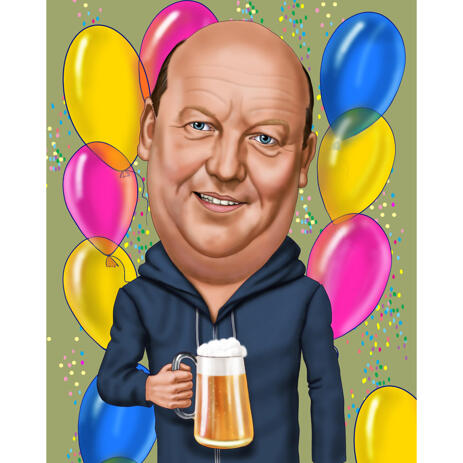 Father Caricature Drawing with Beer Mug for Birthday Day Gift - example