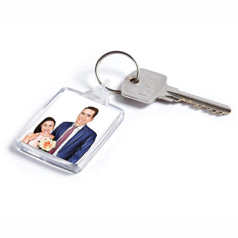 Pencils Portrait of Bride and Groom on Keyrings Print - example