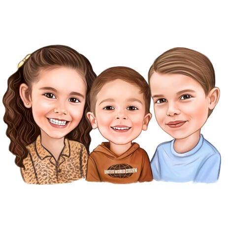 Hoofd en schouders Karikatuurtekening voor kinderen in gekleurde digitale stijl van foto's - example