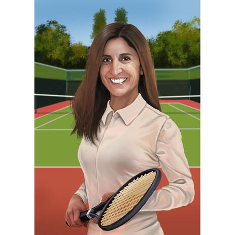 Tennis Portrait from Photos with Tennis Racket - example