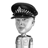 Police Officer Cartoon Portrait from Photo in Black and White Style