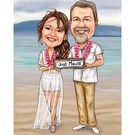 Just Married Couple Wedding Caricature in Colored Style from Photos - example