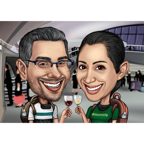 Photo to Cartoon Portrait Hand Drawn Couple Gift in Colored Style with Custom Background - example