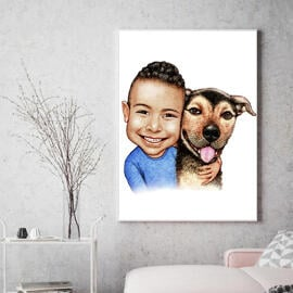 Kid with Dog Caricature on Canvas