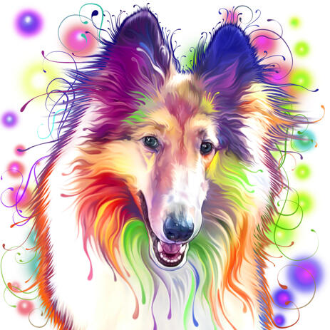 Kid-Friendly Collie Dog Cartoon Portrait in Watercolor Style with Splashes Background - example