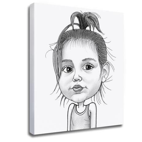 Baby Girl Caricature Printed on Photo Block - example