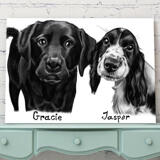 Dogs Portrait on Printed Canvas