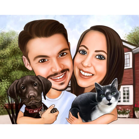Pets and People Cartoon Portrait in Color Digital Style from Photos - example