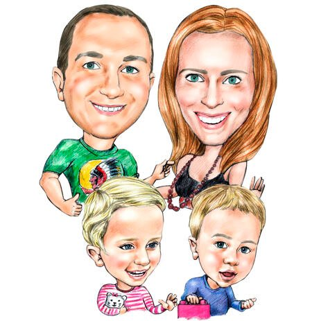 Hobby Family Caricature Drawing in Colored Pencils - example