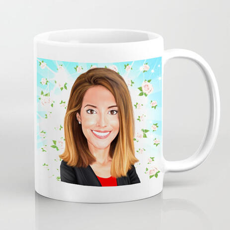 Female Caricature in Color Style with Background for Best Mothers Day Mug Print Gift - example