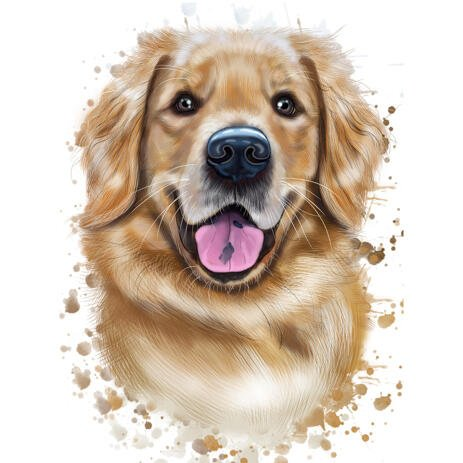 Golden Retriever Portrait in Watercolor Natural Style - example