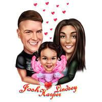 Eltern mit Kinderkarikaturporträt im Farbstil von Foto