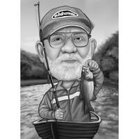 Карикатура на лодку и рыбалку в черно-белом стиле для подарка рыбаку