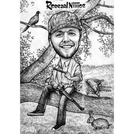 Hunter Caricature Cartoon in Black and White Style with Custom Background - example