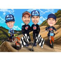 Race Motocross Group Caricature with Custom Background from Photos