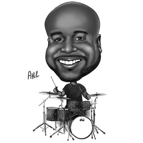 Schlagzeuger Cartoon im Schwarz-Weiß-Stil für Schlagzeugliebhaber - example