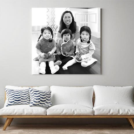 Family with Kids Caricature as Canvas - example