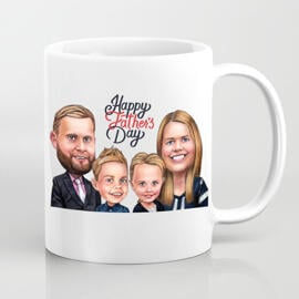 Photo Mug: Printed Cartoon Drawing for Father's Day Gift