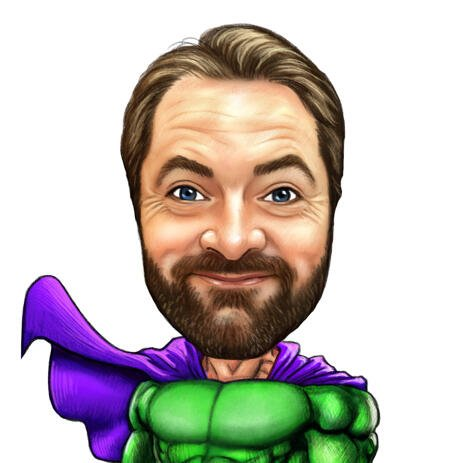 Colored Superhero Caricature from Photos in Pencils - example