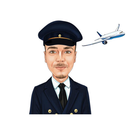 Pilot Cartoon with Airplane in Background - example