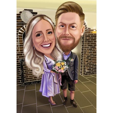 Customized Couple Caricature from Photo with Flower Bouquet - example