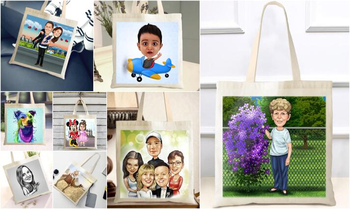 Caricature Tote Bag large example