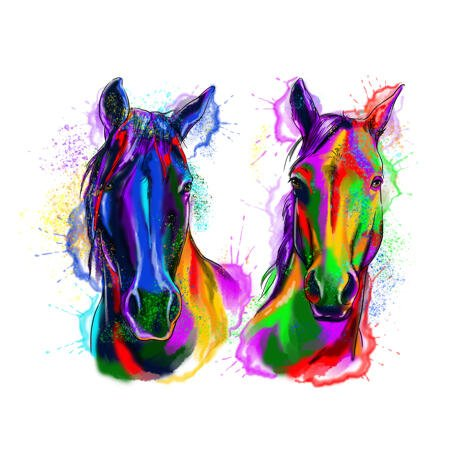Two Horses Watercolor Portrait from Photos - example