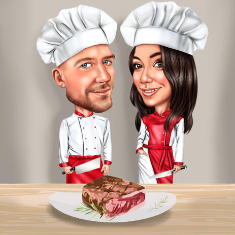 Butcher Couple Cartoon Caricature in Color Style from Photos - example