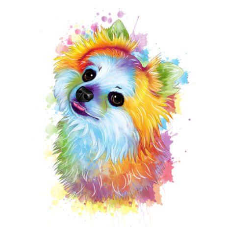 Pastel Watercolor Portrait of Spitz from Photo for Pom Owners Gift - example