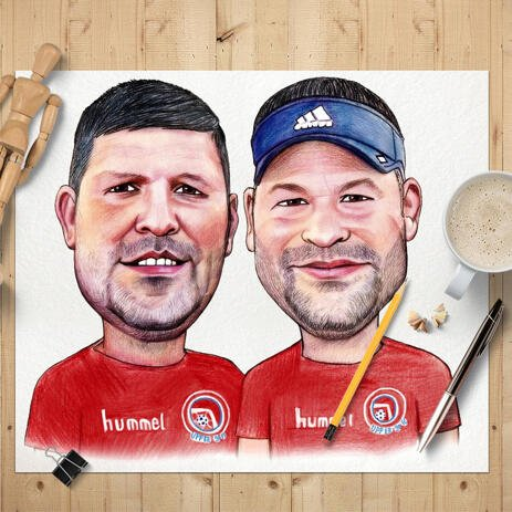 Sport Themed Poster Caricature - Two Persons Hand Drawn in Colored Style from Photos - example