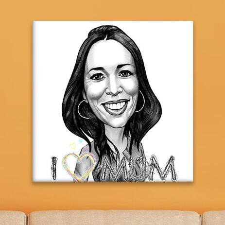 Print on Canvas: Custom Caricature Drawing in Black and White Pencils - example