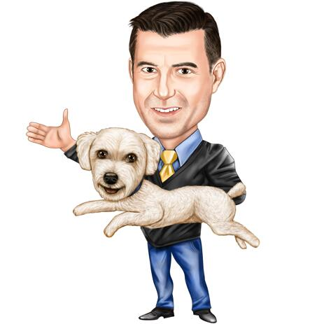 Owner with Pet: Full Body Caricature Portrait on White Background - example
