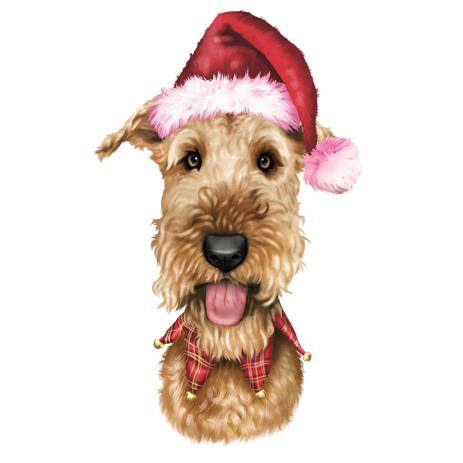 Christmas Pets Caricature Portrait from Photos with Santa Hats - example