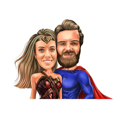 Superhero Inspired Costume Couple Caricature from Photos - example