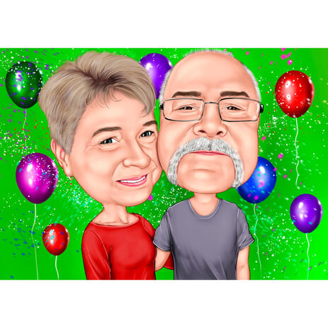 Couple Caricature from Photos with Colored Background for Grandpa Birthday Gift - example