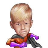Superhero Kid Caricature from Photos in Pencils