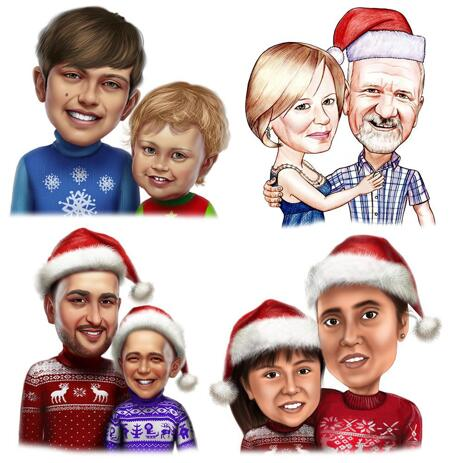 Christmas Couple Caricature in Colored Style - example