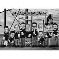 Mansgruppskarikatyr med hantverksöl på anpassad bakgrund, svartvit stil